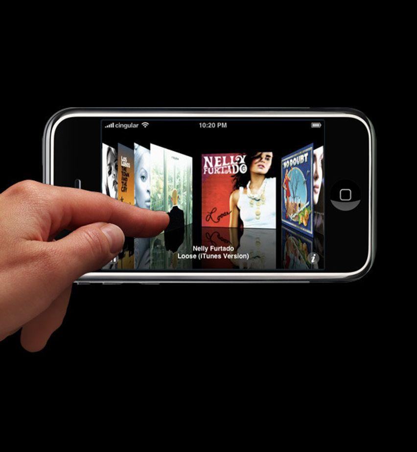 iPhone berøringsskjerm - sett fingeren på, dra elementer og flytt dem rundt.
