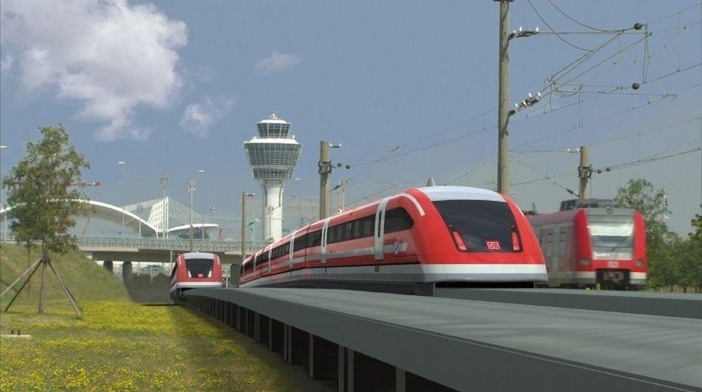 SUPERRASK: Med en topphastighet på 350 km/t vil det ta 10 minutter fra München til flyplassen når magnettoget er på plass. I dag tar togturen 45 minutter.