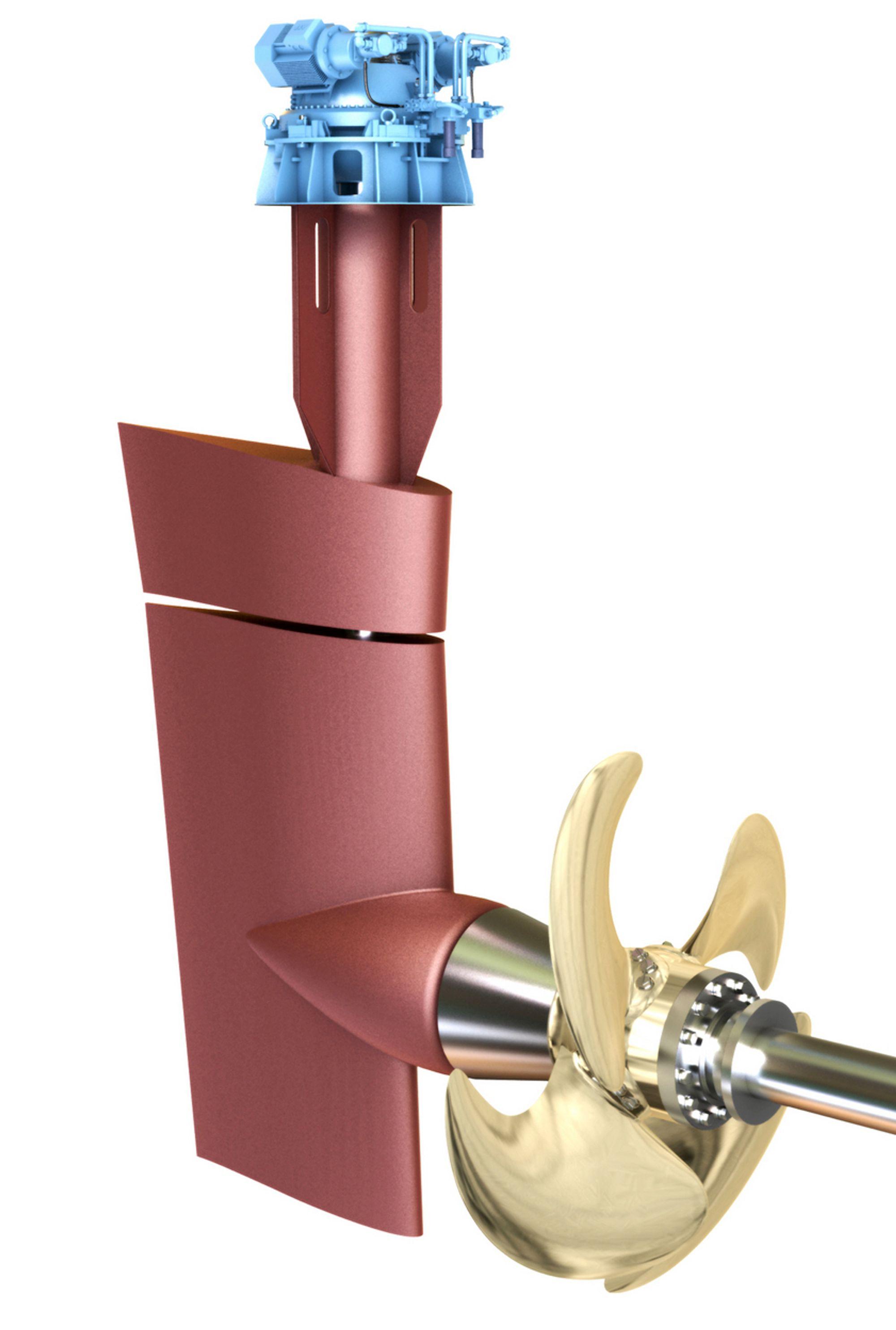 INTEGRERT: Ved å integrere propell og ror har Rolls-Royce utviklet en løsning som øker virkningsgraden på framdriften.