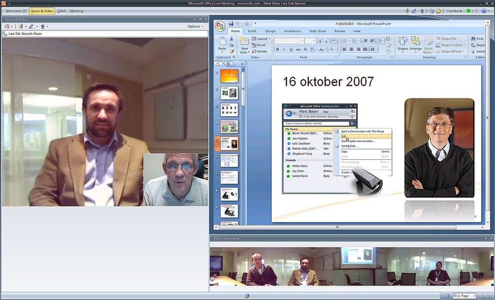 MØTEKAMERA:Dette intervjuet foregikk fra PC til PC med Microsofts Video Round Table hvor fem kamera er montert sammen til ett som til sammen viser 360 grader i et møterom. På skjermen ser det ut som alle deltakerne sitter på linje. Den som snakker, i dette tilfellet Microsofts  Lars Erik Norum, kommer automatisk frem på skjermen. TUs intervjuer er innfelt i et mindre bilde via webkamera. Partene kan dele en presentasjon eller andre dokumenter.