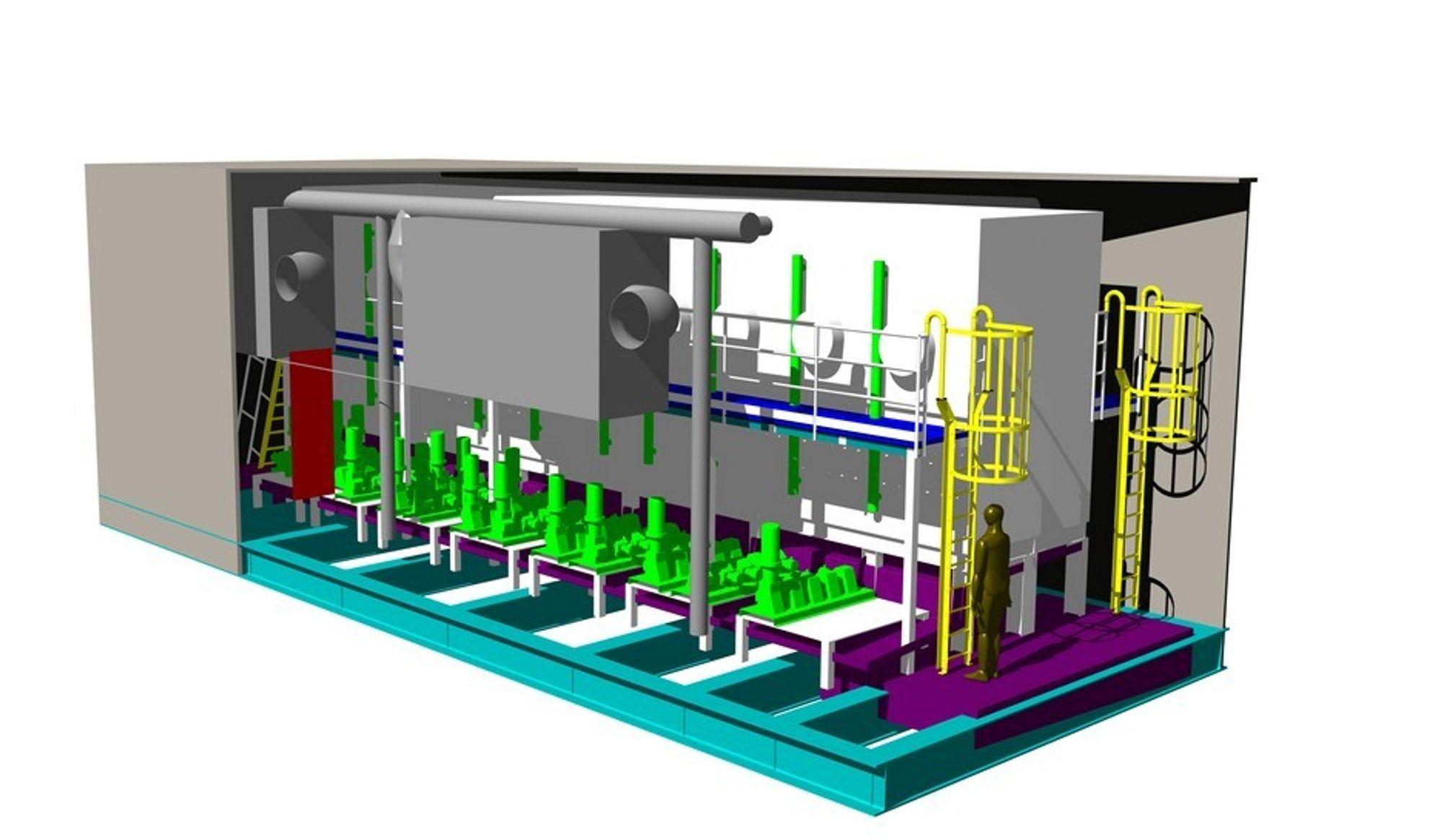 Slik skal kjemikalieinjeksjonsmodulen til Gjøa-plattformen se ut når den er ferdig i juli neste år.