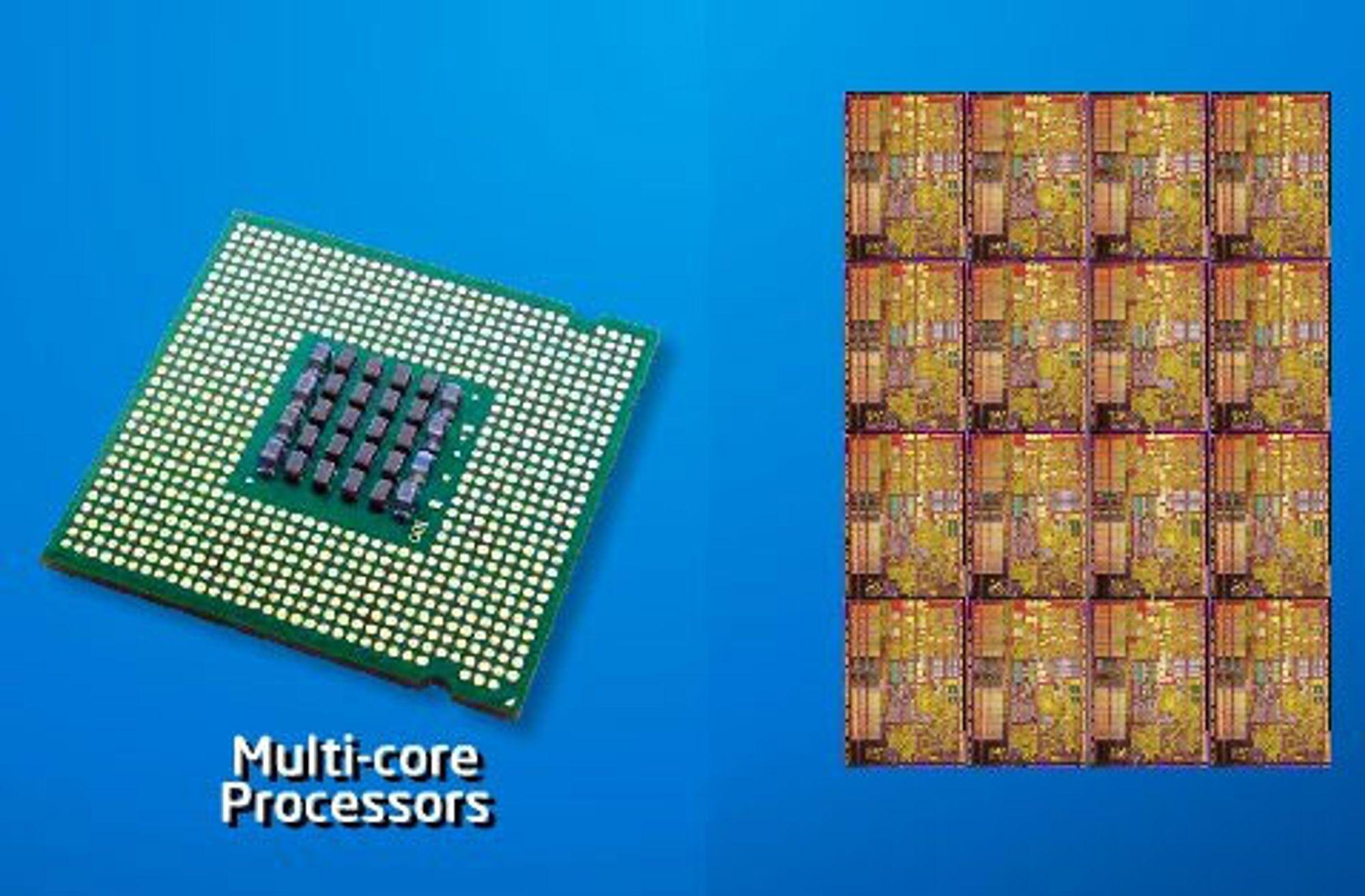 Intel flerkjerneprosessor. ILLUSTRASJONSFOTO
