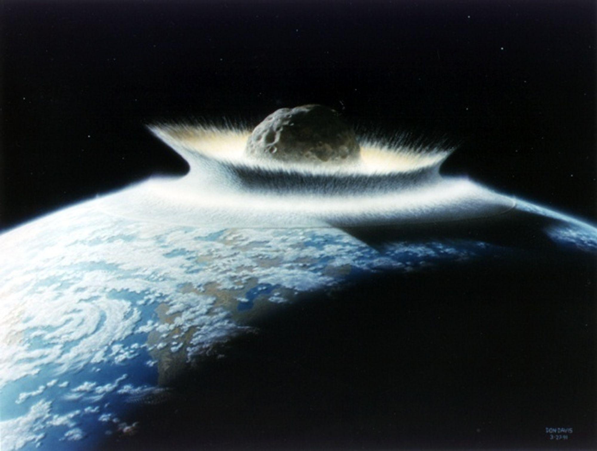 EFFEKTIV STERILISERING: Dersom en asteroide med en diameter på 500 km hadde truffet Jorden, ville de ha sett omtrent slik ut - og hele kloden ville blitt sterilisert. Heldigvis er det ingen asteroider av slik størrelse som truer vår eksistens i dag.
