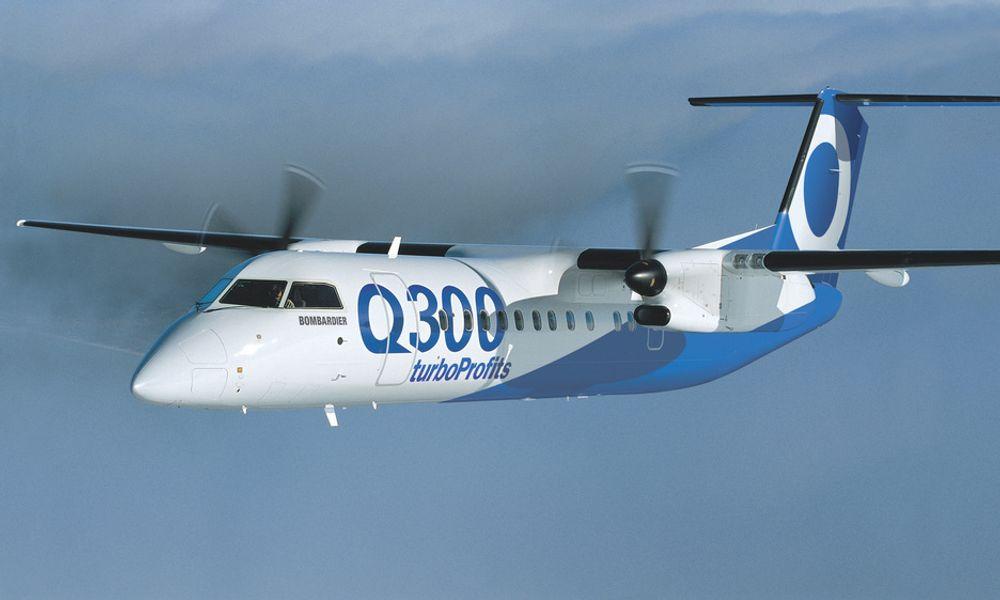 Q300: Det var et av Widerøes Bombardier Dash 8-fly, modell Q300, som måtte returnere til Sola med sprukket frontrute torsdag kveld.