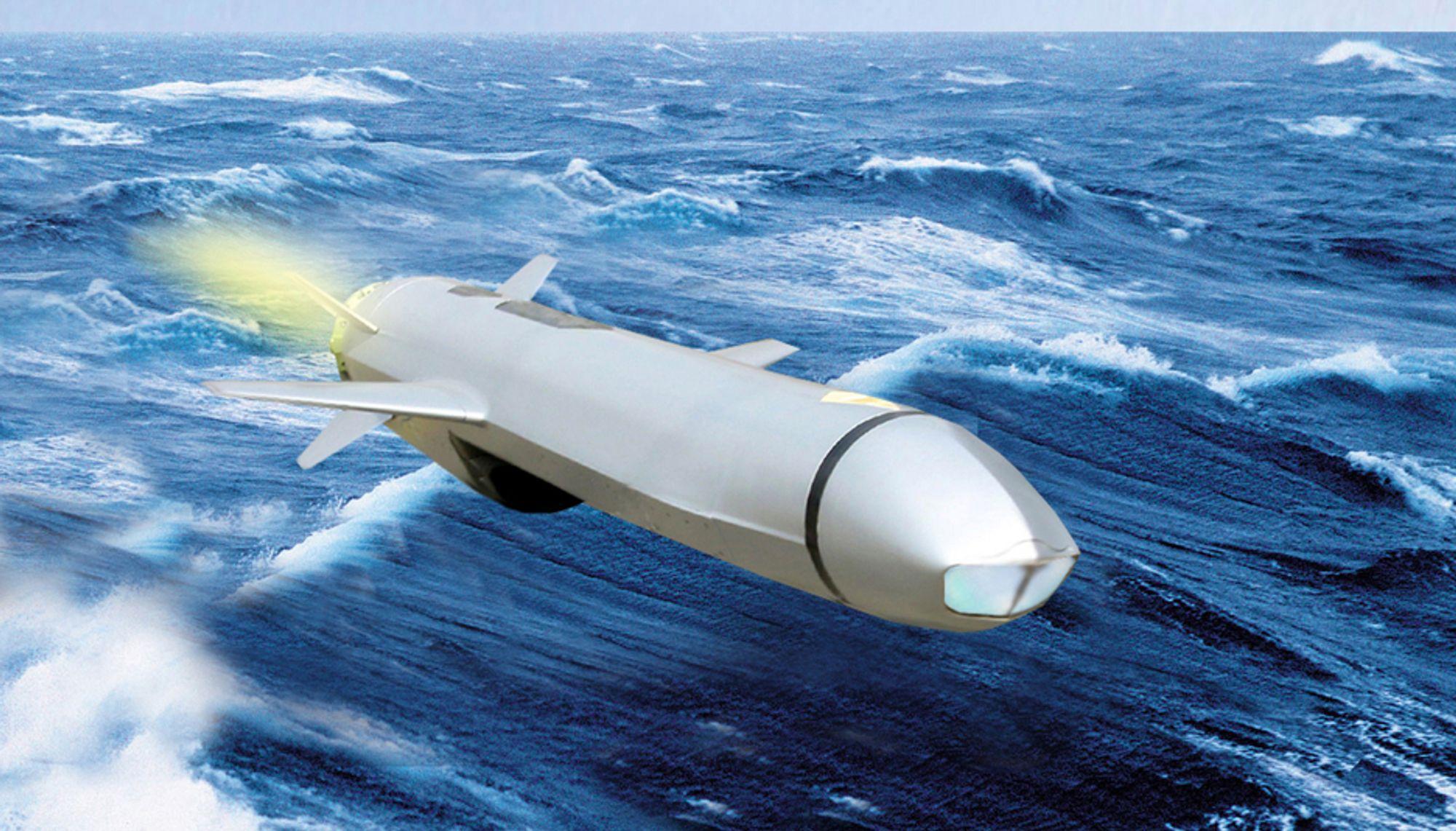 FLYR LAVT: Det nye våpenet flyr like over sjøen. Det har et innebygget instrument som beregner riktig høyde over bølgene slik at det ikke går i sjøen før det når målet.
