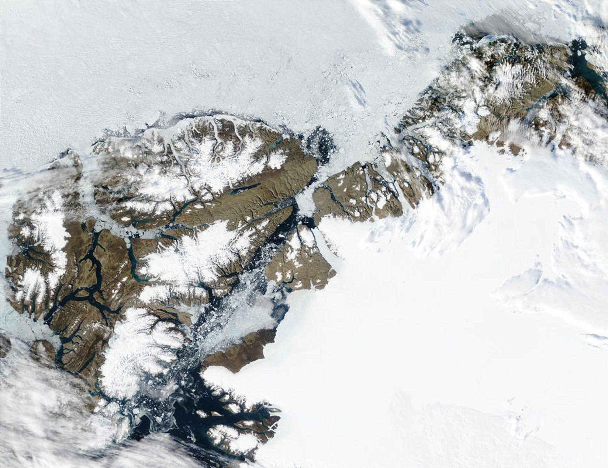 FOR VARMT: Ellesmere Island er 196.235 km², men øyens isområder minsker raskt på grunn av klimaendringene.
