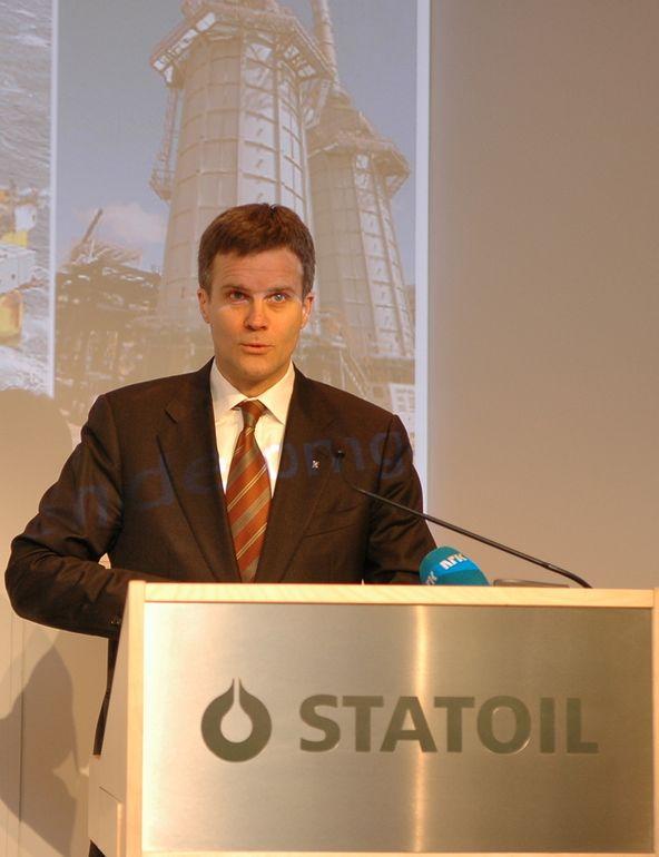 Helge Lund under resultatpresentasjon 2007