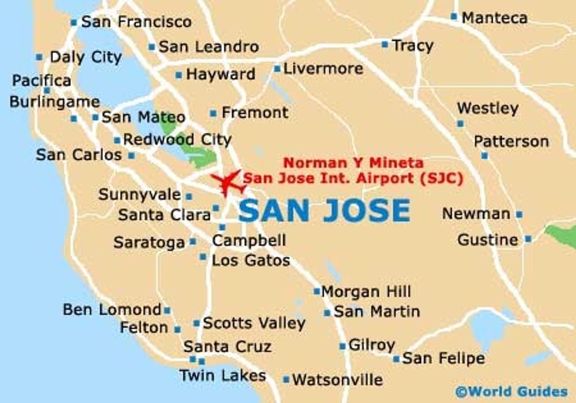 San Jose i California ligger innerst i det som kalles Bay Area, som ogsp omfatter San Frasisco, som ligger ved inngangen til bukta.
