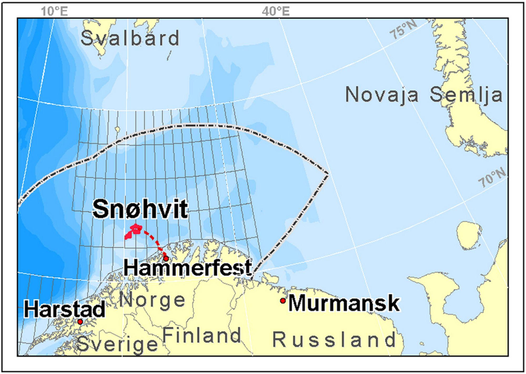 Snøhvit og Hammerfest på kartet.