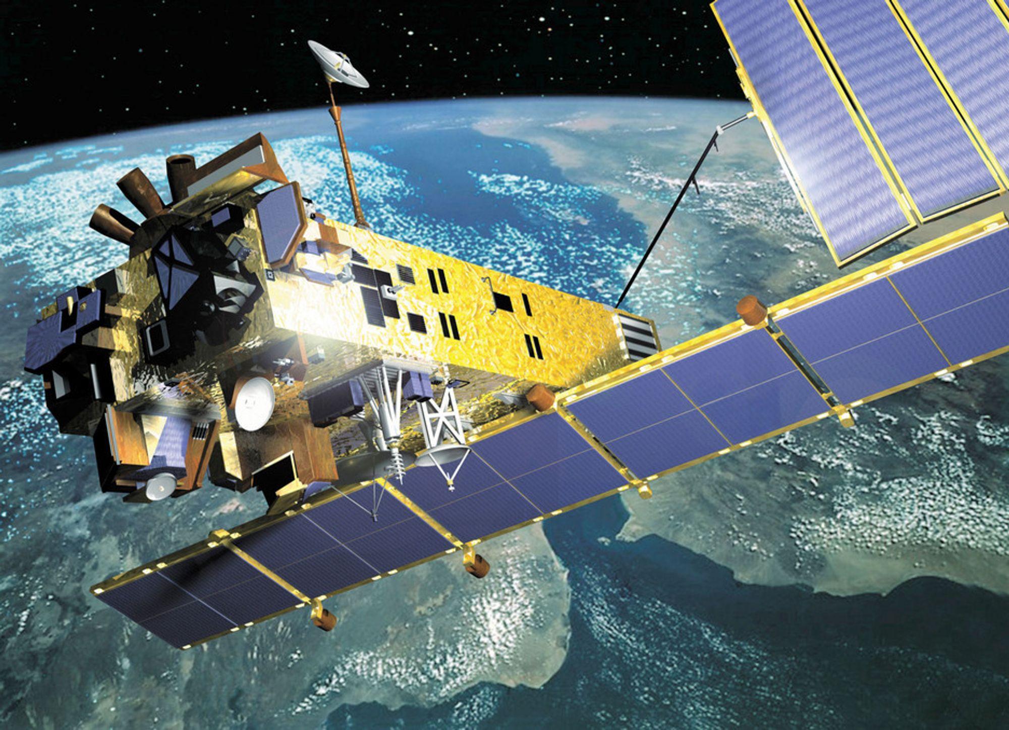SER ALT: Ved hjelp av miljøsatellitten Envisat registrerer nå Kongsberg Satellite Services den minste antydning til oljeutslipp fra skip så å si øyeblikkelig.