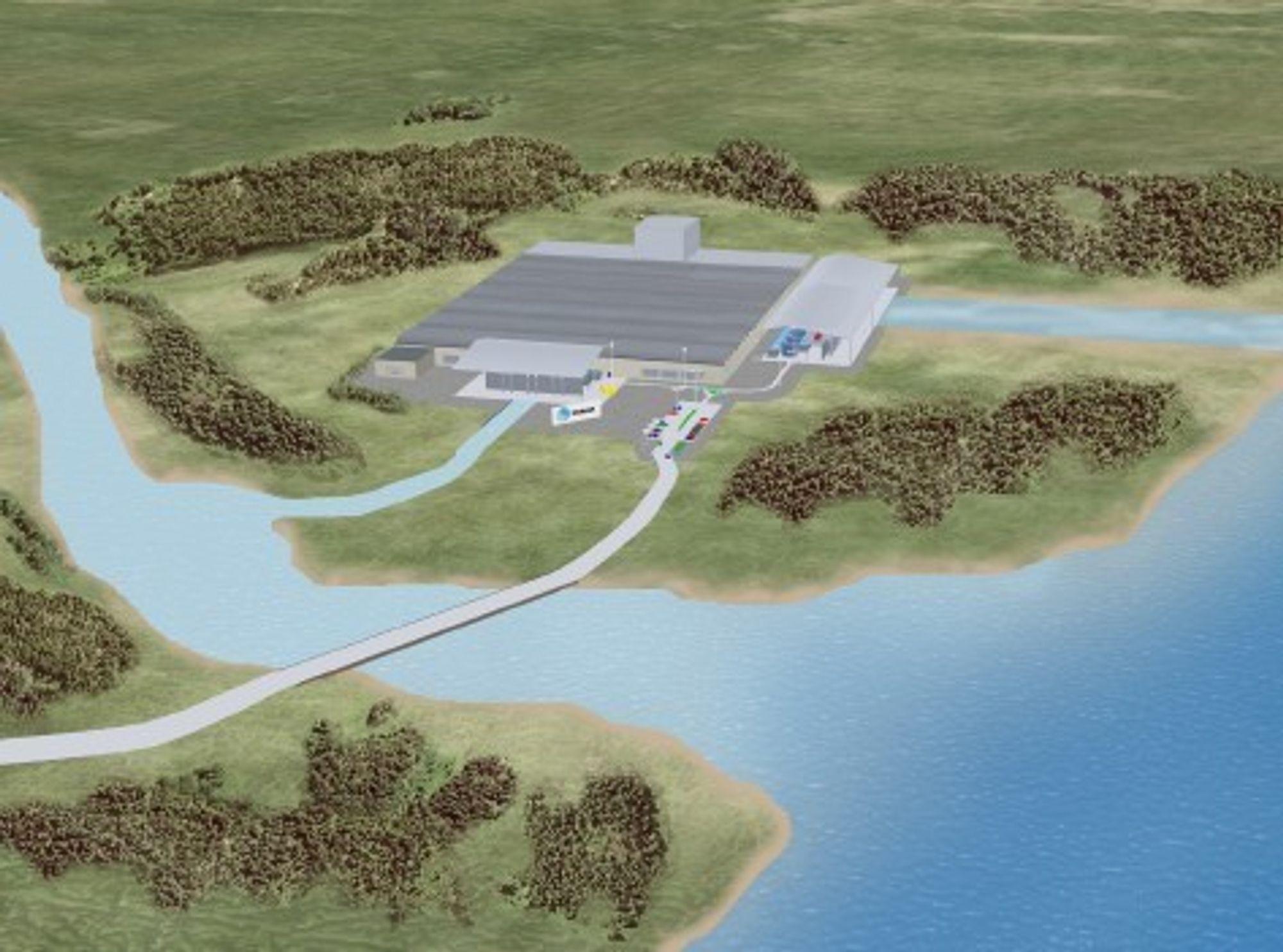 Saltkraftverk kan bygges i fri luft eller under bakken ved utløpet av elver i havet. Den beste plasseringen er ved eksisterende vannkraftverk, der det allerede finnes infrastruktur. Illustrasjon.