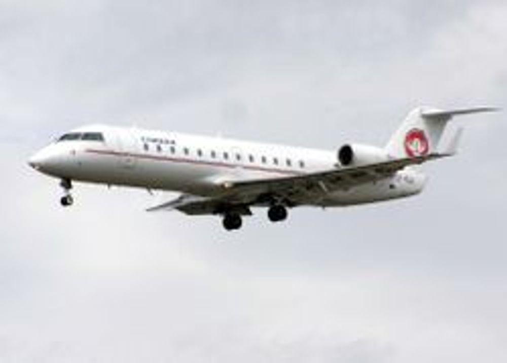 FLAP-FEIL: Et fly av denne typen, en CRJ 200, har måttet sikkerhetslande to ganger på samme uke i Tromsø.