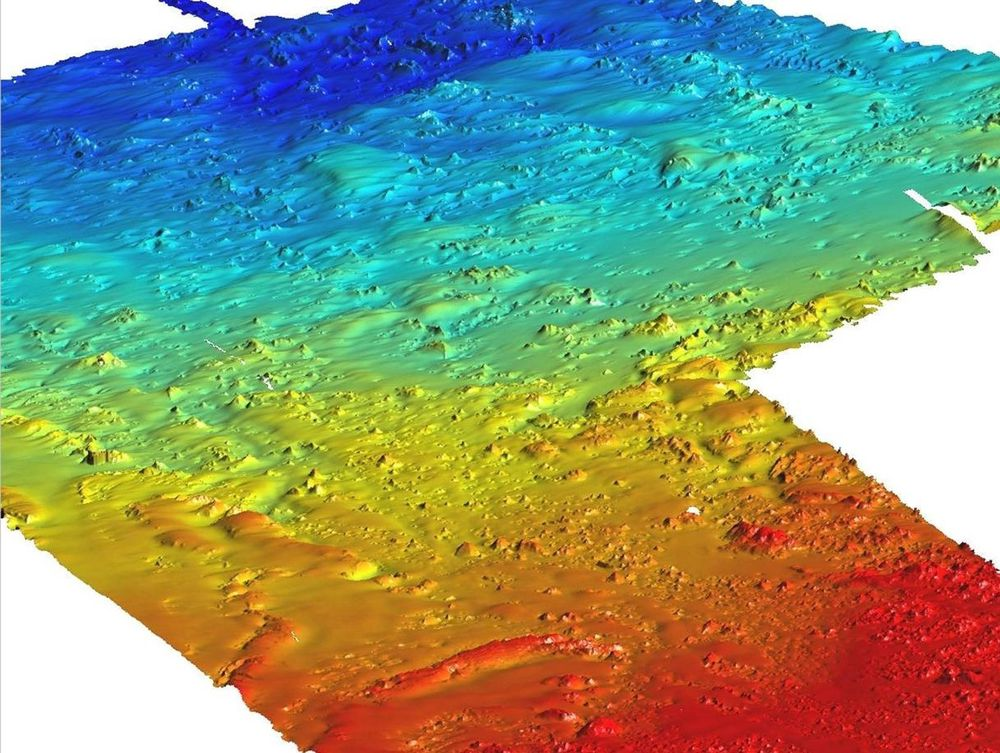 ORMEN LANGE: Bildet viser de behandlede data fra kartleggingen av Storeggaraset på Ormen Lange. Dybdene i bildet varierer fra 250 til 850 meter. Her skal Norsk Hydro plassere bunnramme og legge rør. Ill: Marine Surveys  Norsk Hydro