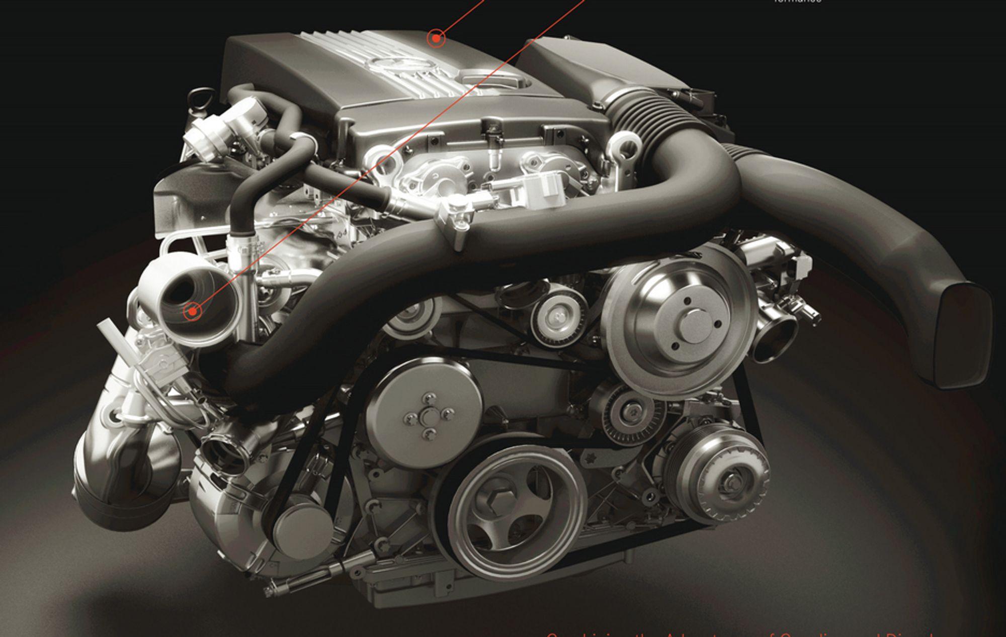 DIESOTTO: Mercedes har laget en bensinmotor som kan selvantenne med høy kompresjon omtrent som en dieselmotor. Den bruker tennplugger på lavt turtall, men på høyere turtall økes  kompresjonsforholdet ved å heve veivakselen.