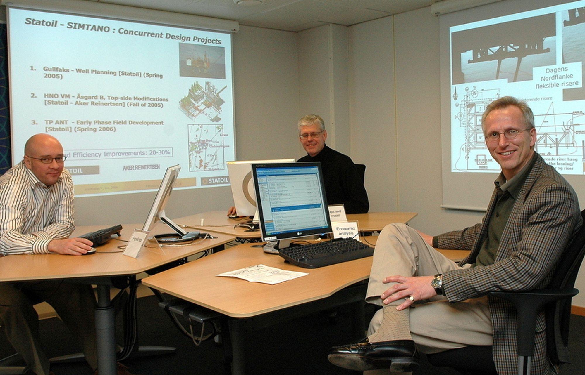 GIR GEVINST: ¿ Med den nye metoden effektiviseres gjennomføringen av et prosjekt med mellom 20 og 30 prosent, sier Knut  Øxnevad (til høyre). Med seg i utvikling av metoden for norsk offshoreindustri har han organisasjonpsykolog Asbjørn Egir og prosjektingeniør Rolf Hofgaard i Statoil.