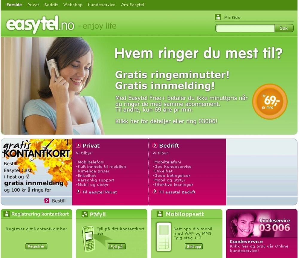 Easytel ble slått konkurs tirsdag 23. januar. Likevel kunne  du gå inn på sidene deres og registrere deg som ny kunde.