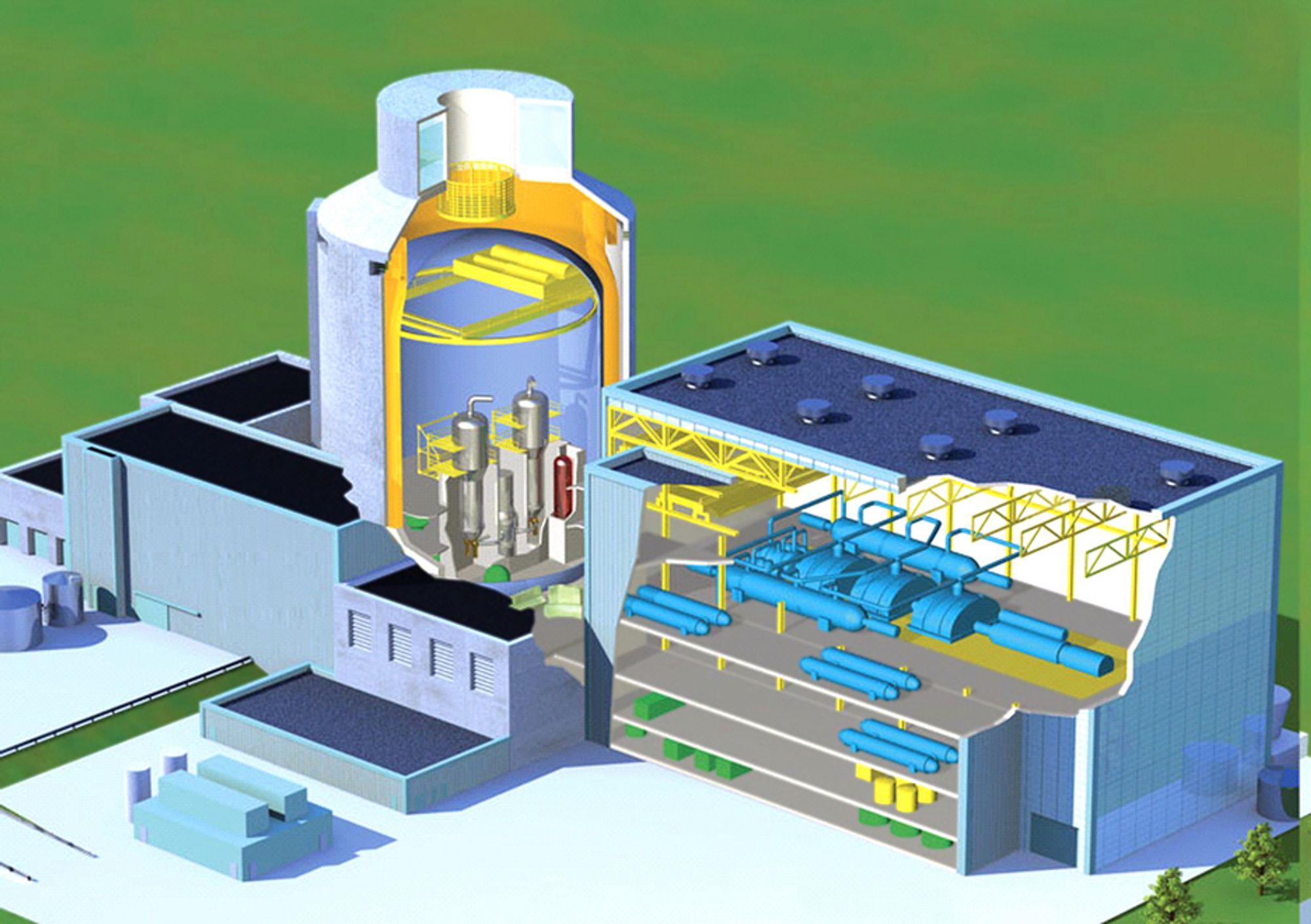 KAN BRENNE THORIUM:Westinghouse AP1000 er den største og mest moderne, såkalte Generasjon 3 lettvannsreaktorer. Den kan lett konverteres til thorium og gi 1000 MW i hver av de to reaktorene. To reaktorer er en fordel slik at en kan være i drift når den andre bytter brennstoff. Anlegget vil bli verdens største med en toppeffekt på 2200 MW. Det nye finske atomkraftverket har to reaktorer på 750 MW hver. Ill: Westinghouse.