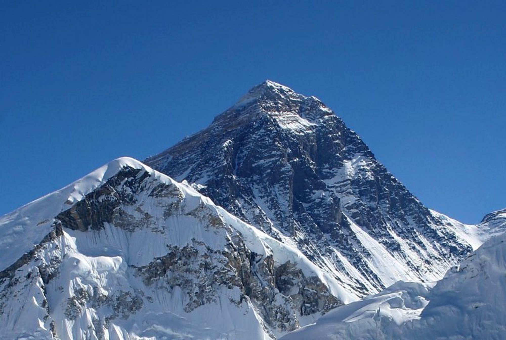Mount Everest sett fra Kala Patthar i Nepal.