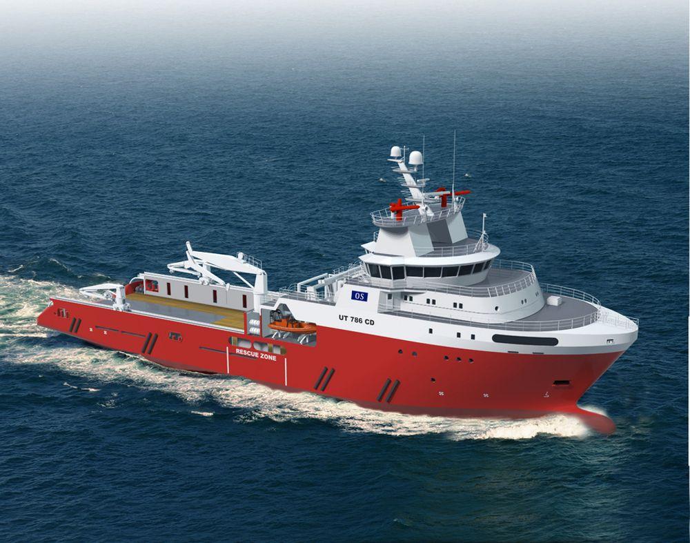 STORE SKIP: Fire ankerhåndteringsfartøy av type UT 786 CD skal bygges i Sør-Korea. Skipene blir kraftige, med en trekkraft på over 300 tonn. Disse er egnet for å operere på store havdyp.