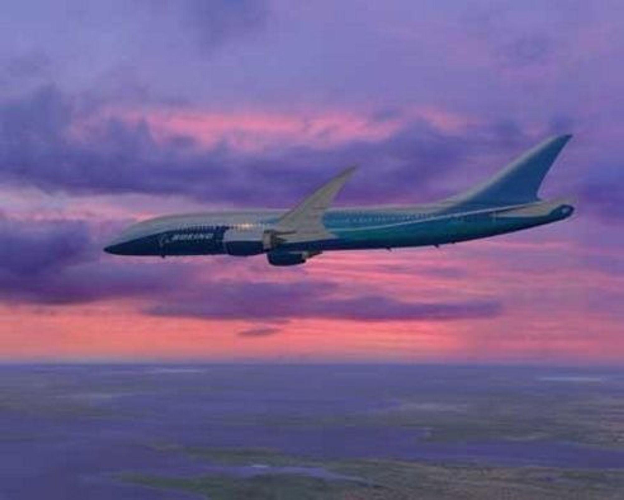 SPAREBØSSE: En ny vingeprofil som forbedrer forholdet mellom løft og motstand med inntil 30 prosent, sies å gi nye Boeing 7E7 Dreamliner et fortrinn fremfor konkurrentene. Flyet skal i luften om et par år. FOTO: BOEING