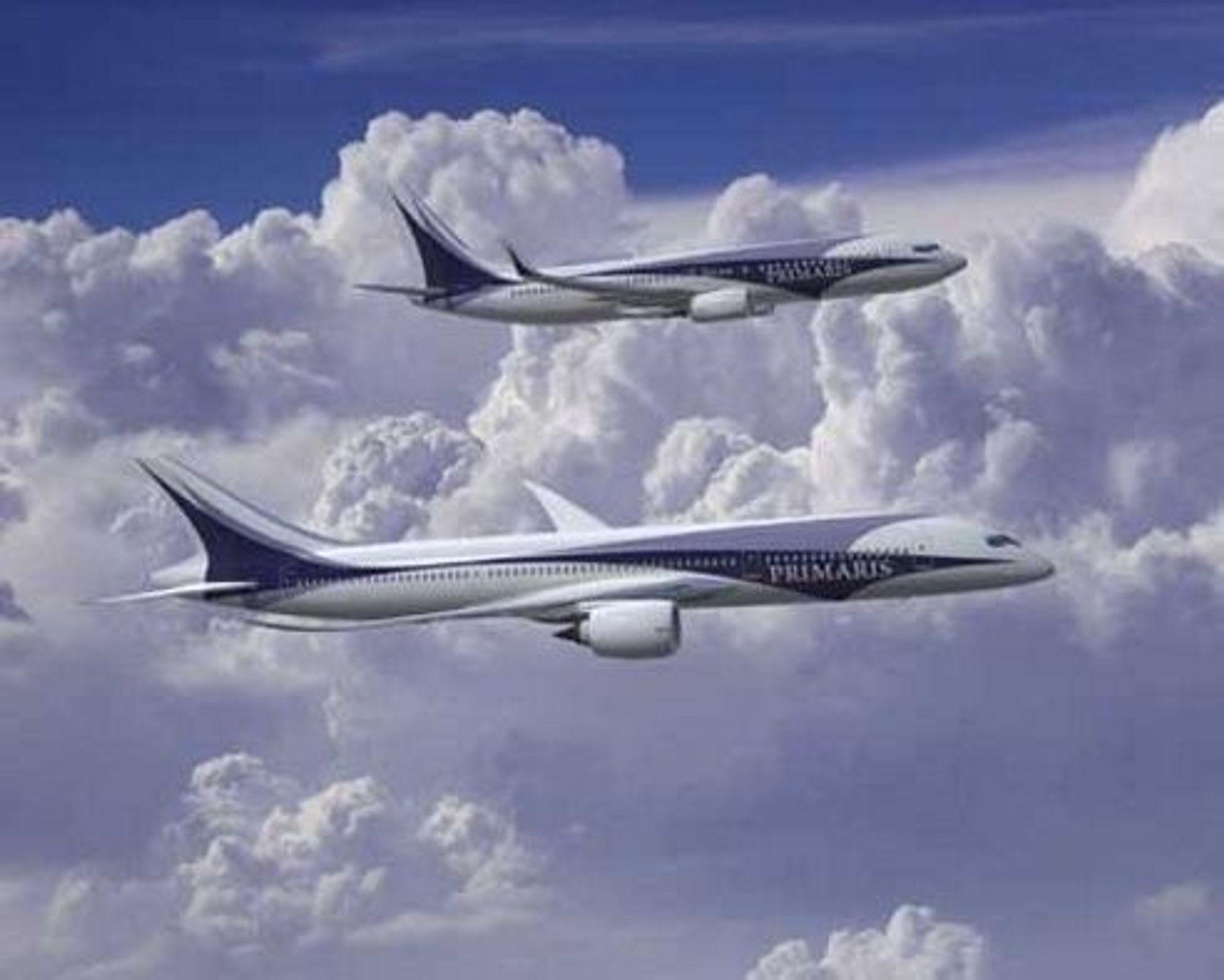 BRUKER MINDRE: Det nye Boeingflyet 7E7 Dreamliner skal bygges. De fem første kundene er klare.Poenget ved flyet er revolusjonerendea aerodynamikk som gir svært lavt forbruk, flyhøyde over annen normal tfafikk og ekstra lang rekkevidde. FOTO: BOEING