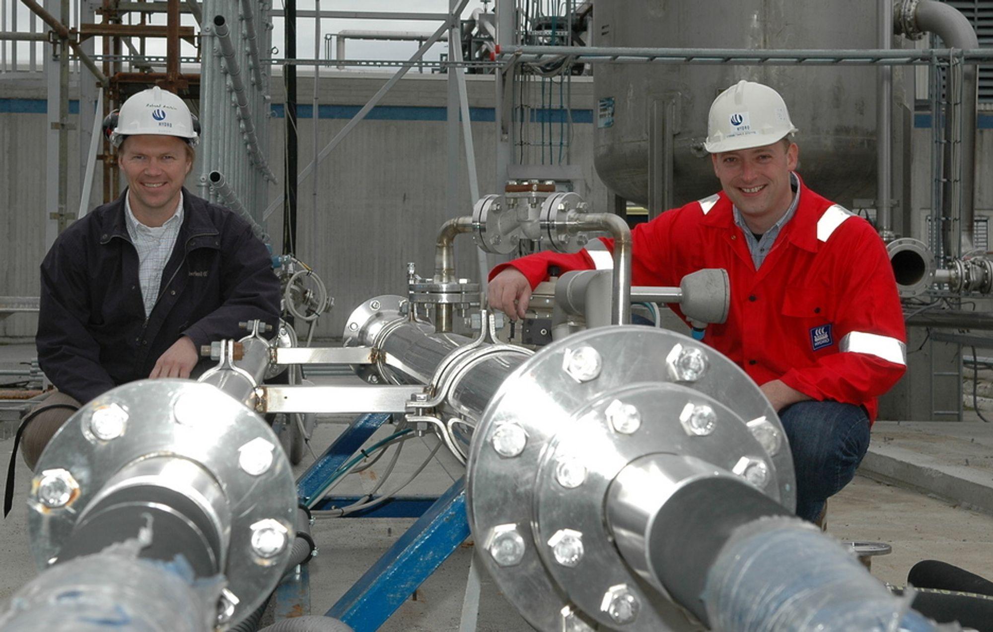FINALISTER: Robert Aasheim og Taale Stette kom helt til finalen forHydros innovasjonspris for 2006 for det arbeidet de gjennomførte på Grane. I 2007 kan resultatet bli en mergevinst på 4,5 milliarder kroner.