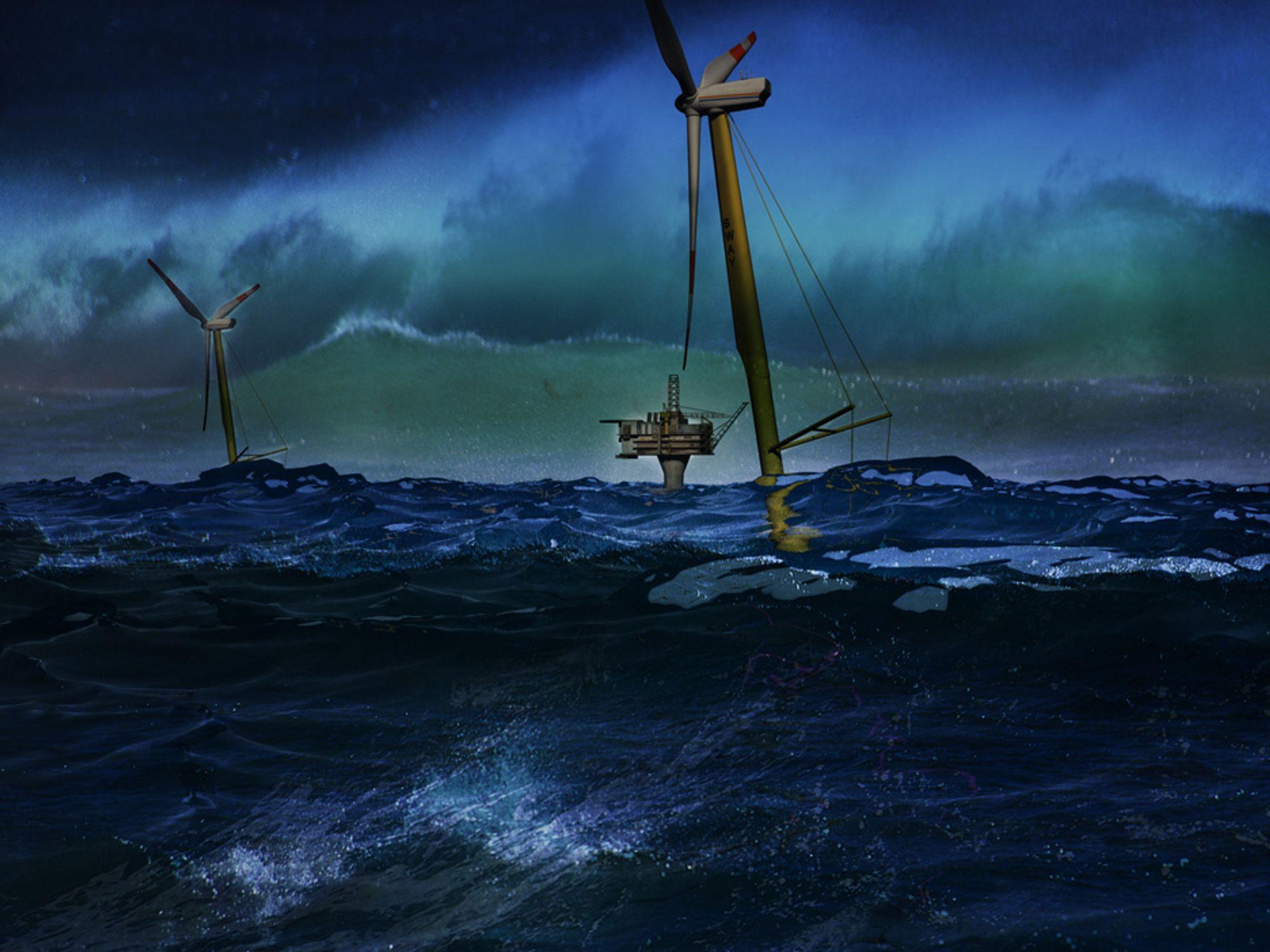 VIND TIL HAVS: Ute på havet vil ikke vindturbinene være til sjenanse for vanlige folk, kun for skipstrafikken. Forskere mener satsing på vindkraft til havs bør være Norges månelanding.