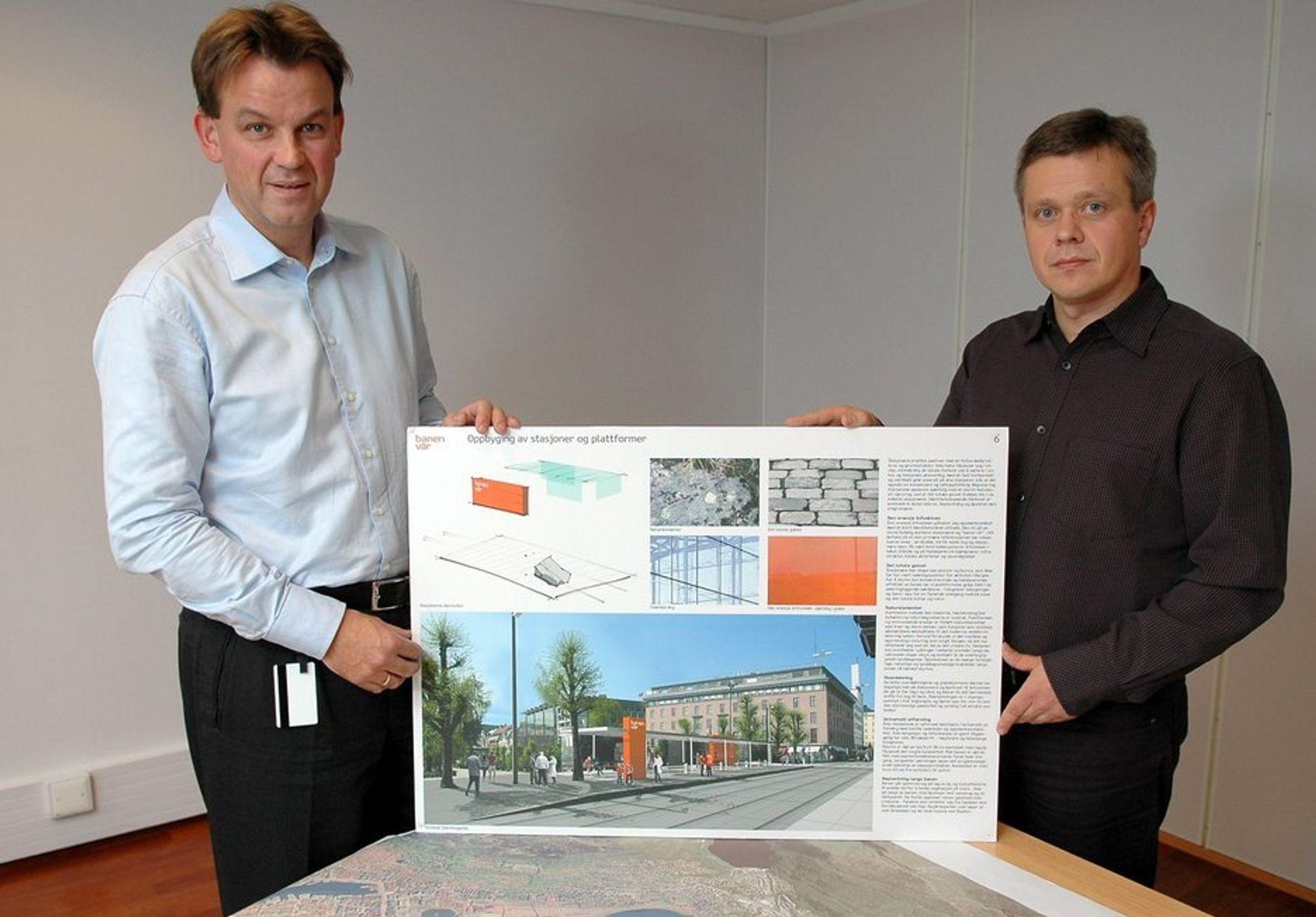 DESIGNKONKURRANSE: Rune Haugsdal og Jostein Fjærestad med vinnerutkastet for bybanens endestasjon i Bergen sentrum.