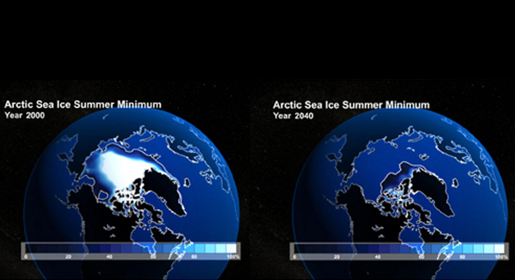 ALVORLIG: Illustrasjonen viser hvor stort havområdet som var dekket av is i 2000 (t.v.), sammenlignet med det antatte, minimale isdekket i 2040.