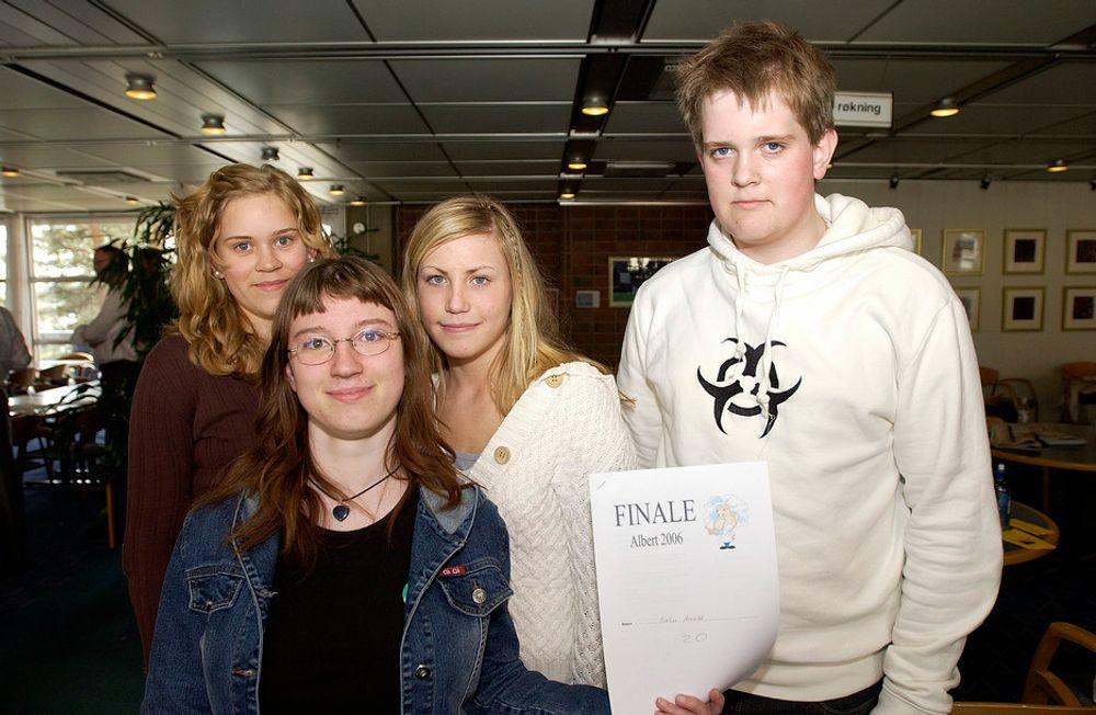 DE BESTE: De fire vinnerner i Albert 2006: Line Danielsen (Nærbø), Evelin Arnold (Tyskland), Karoline Winther (Sørreisa) og Henry Røyseth Almedahl (Ulsteinvik).