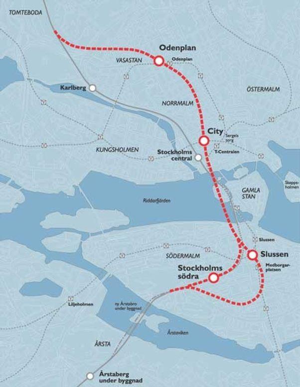 Svenskene håper å kunne mer enn doble kapasiteten på banenettet under den indre bykjernen med en ny, 7 km lang strekning. 6 km skal gå i tunnel.