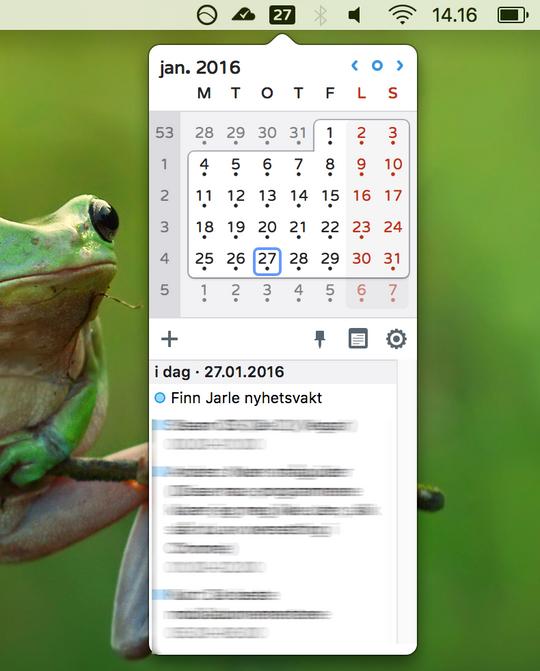 Itsycal gir OS X en skikkelig kalenderfunksjon fra oppgavelinjen.