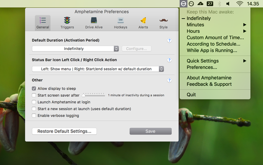 Amphetamine holder MacBooken din våken selv om du legger ned skjermen.
