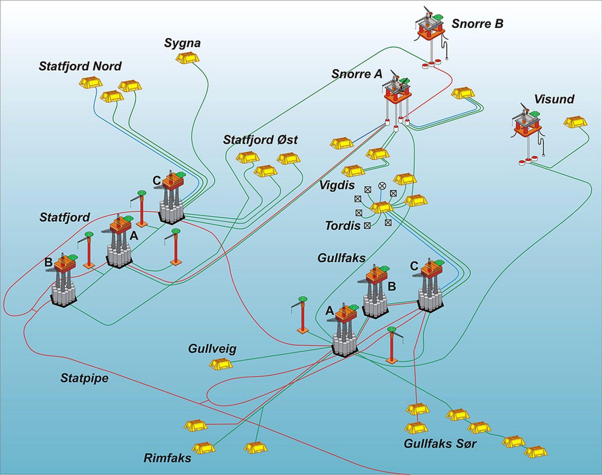 OPERERES FRA LAND:Mer automatisering og drift fra land kan senke kostnadene for offshorebaserte oljefelt. Illustrasjon: Statoil