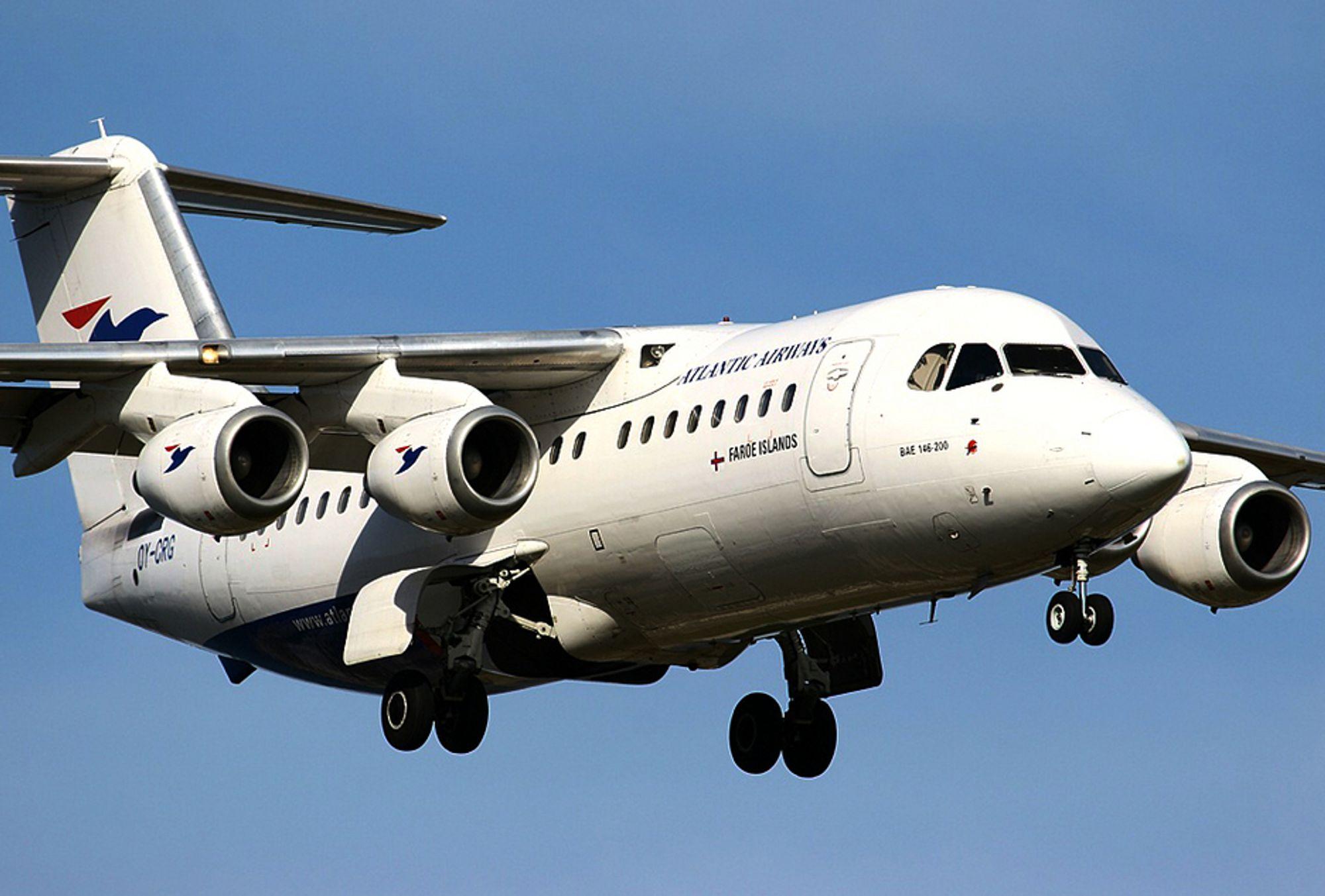 19 ÅR GAMMELT: Atlantic Airways-flyet var av typen British Aerospace BAe 146-200. Det ble bygd i 1987 og levert til flyselskapet i mars 1988.