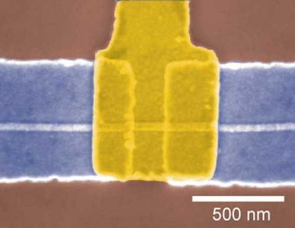 Elektronmikroskopibilde av en Ge/Si nano-felteffekttransistor (nFET)
