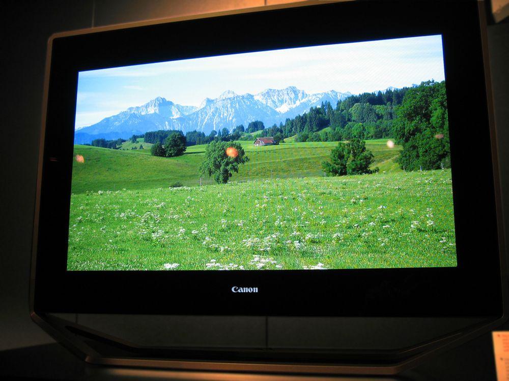 SPEKTAKULÆR:Prototypene på Canons nye 32 tommers SED-TV har en fantastisk bildekvalitet som både LCD og plasma skal få bryne seg på.