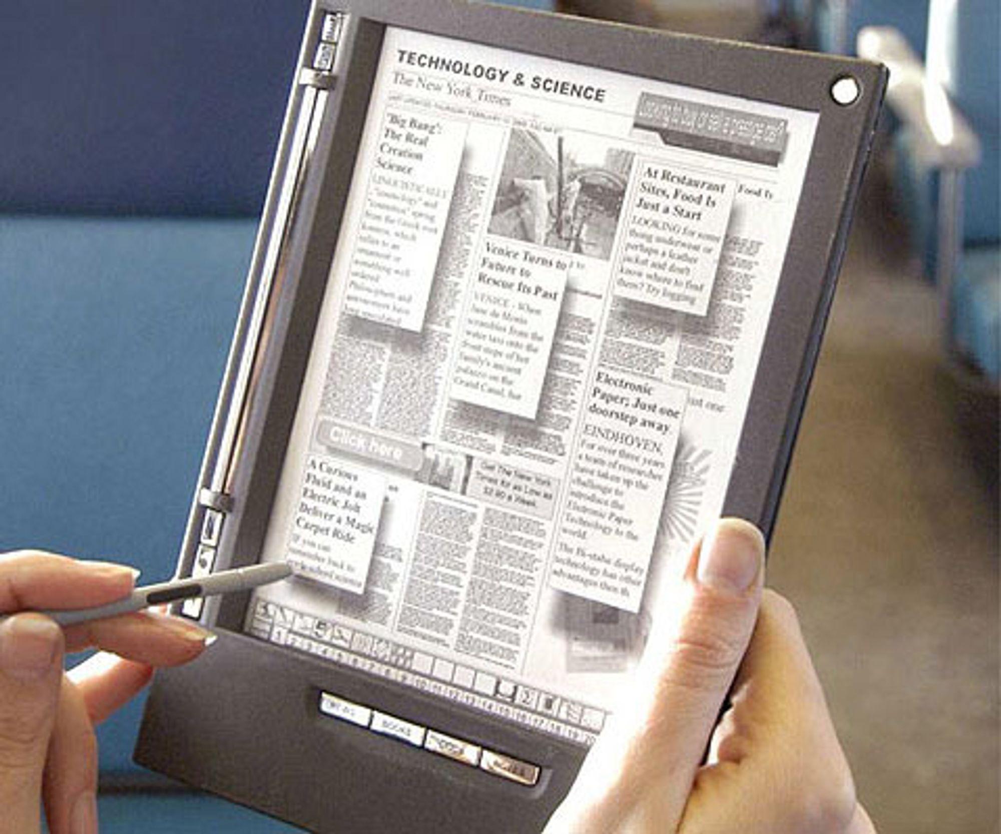 Leseplaten iLiad Reader fra iRex Technologies danner basisen for første generasjon e-aviser.