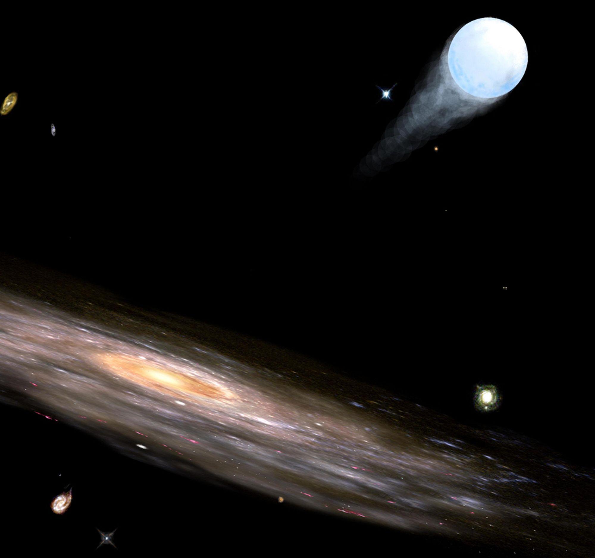 LITEN OG KRAFTIG: Små, svarte hull kan ha vel så mye kraft som Melkeveiens massive svarte hull. Kanskje er det de små som kaster fleste stjerner ut av galaksen.