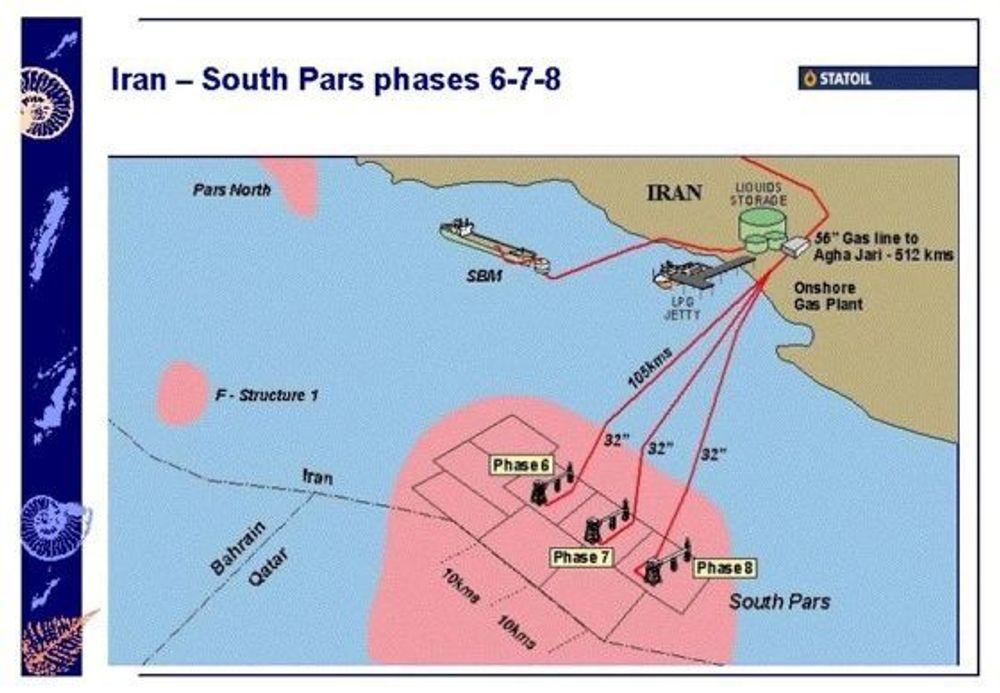 South Pars skal bygges ut med tre brønnhodeplattformer. Se større kart under.