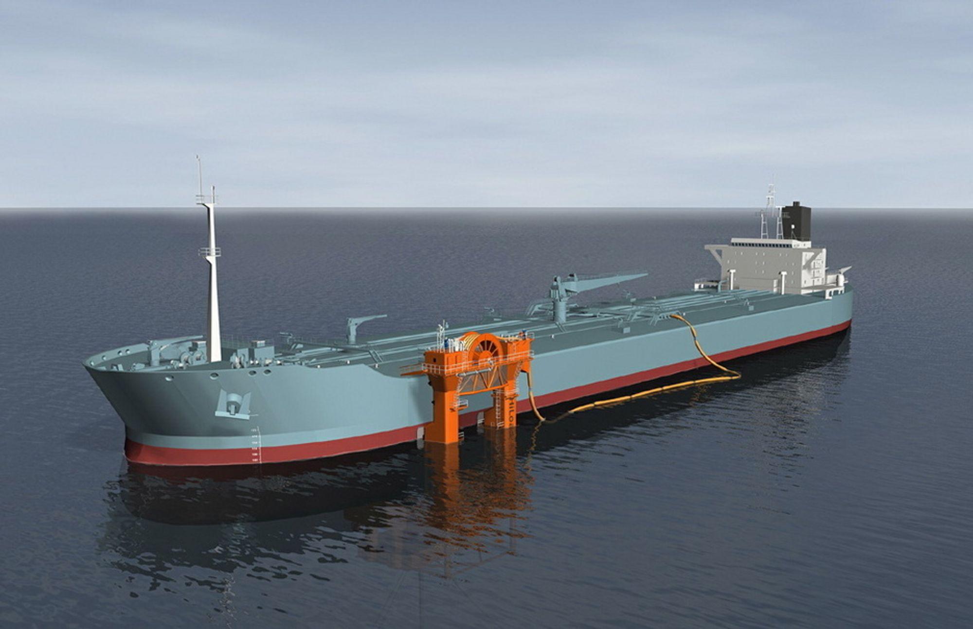 BYGGEKLAR: HiLoad DP ligger i startgropa og er byggeklar. Den flytende lastefarkosten kan brukes for å laste både olje og gass i inn til 9 meter høye bølger.