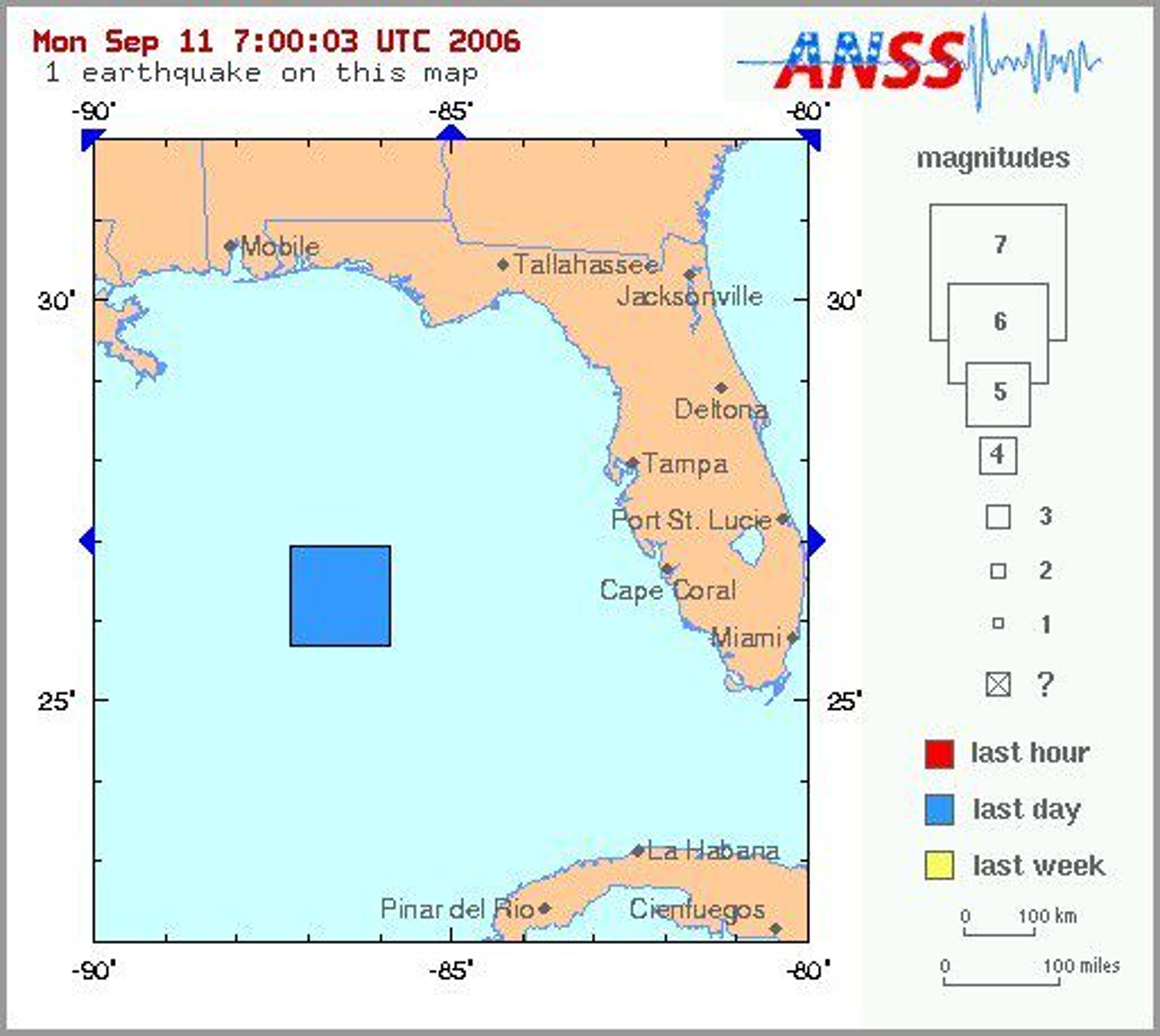 Jordskjelvet inntraff utei gulfen, 420 kilometer sørvest for Tampa i Florida og ble merket i alle de fire nærmset statene.