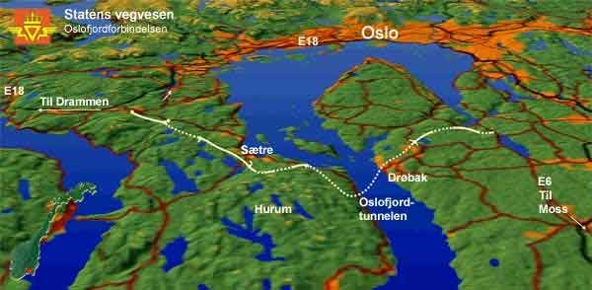 Kart over Oslofjordtunnelen med tilbringerveier.