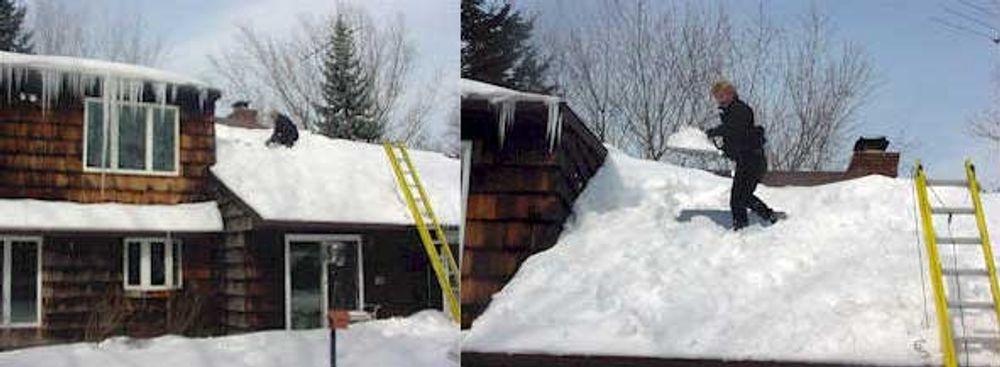 Farlige snømengder truer bygg