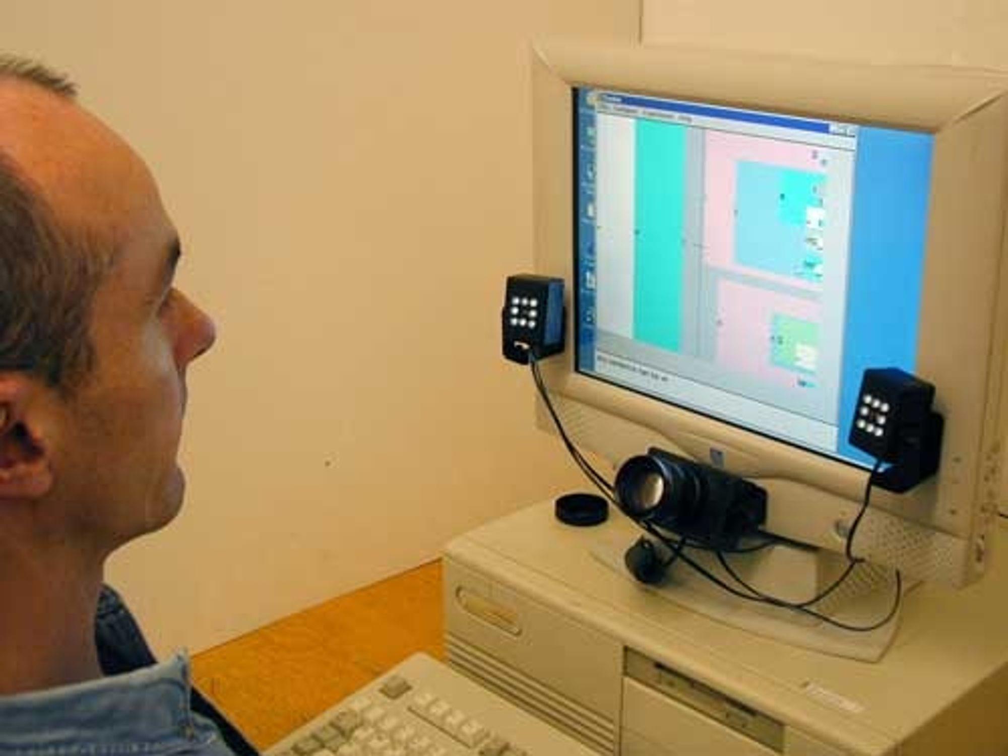 ØYESKRIVER: Ny programvare og en spesielt utviklet blikkfølger gjør at du kan skrive tekst på datamaskinen bare ved å se på bokstavene du vil sette sammen.