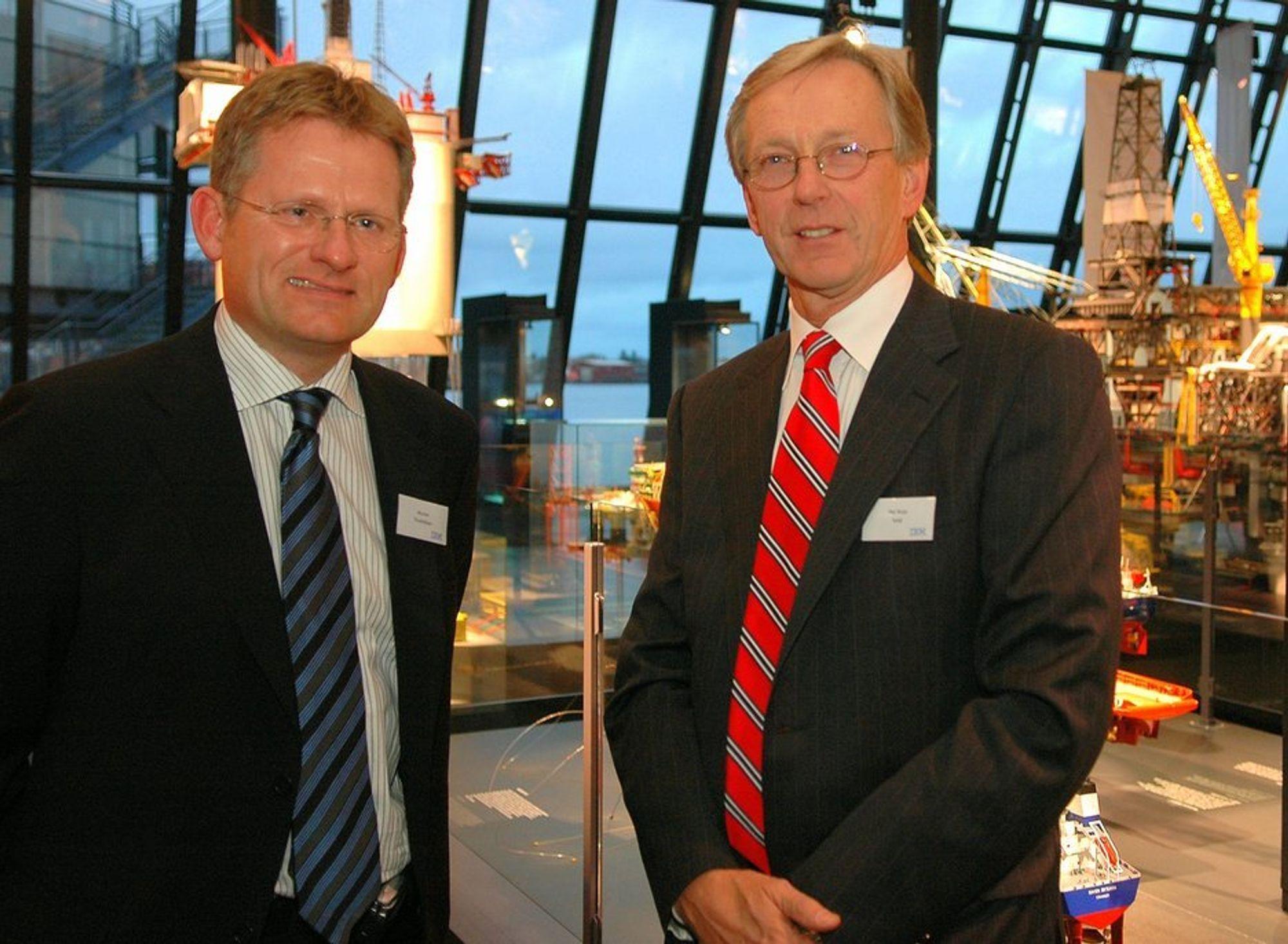 GLEDER SEG: Morten Thorkildsen i IBM Norge gleder seg over at IBM sentralt satser på å utvikle nye systemer  for olje og gassindustrien i Norge. - Det er fantastisk, sier Per Terje Vold i OLF.