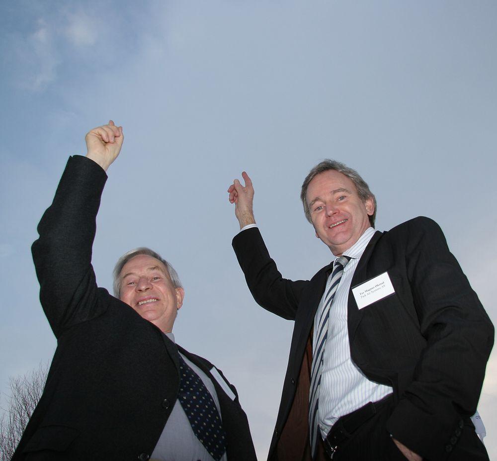 Prosjektleder og initiativtakere til ATM-Forum Norway, Einar Sørensen og adm. direktør i Park Air Systems, Tor Magnus Økstad