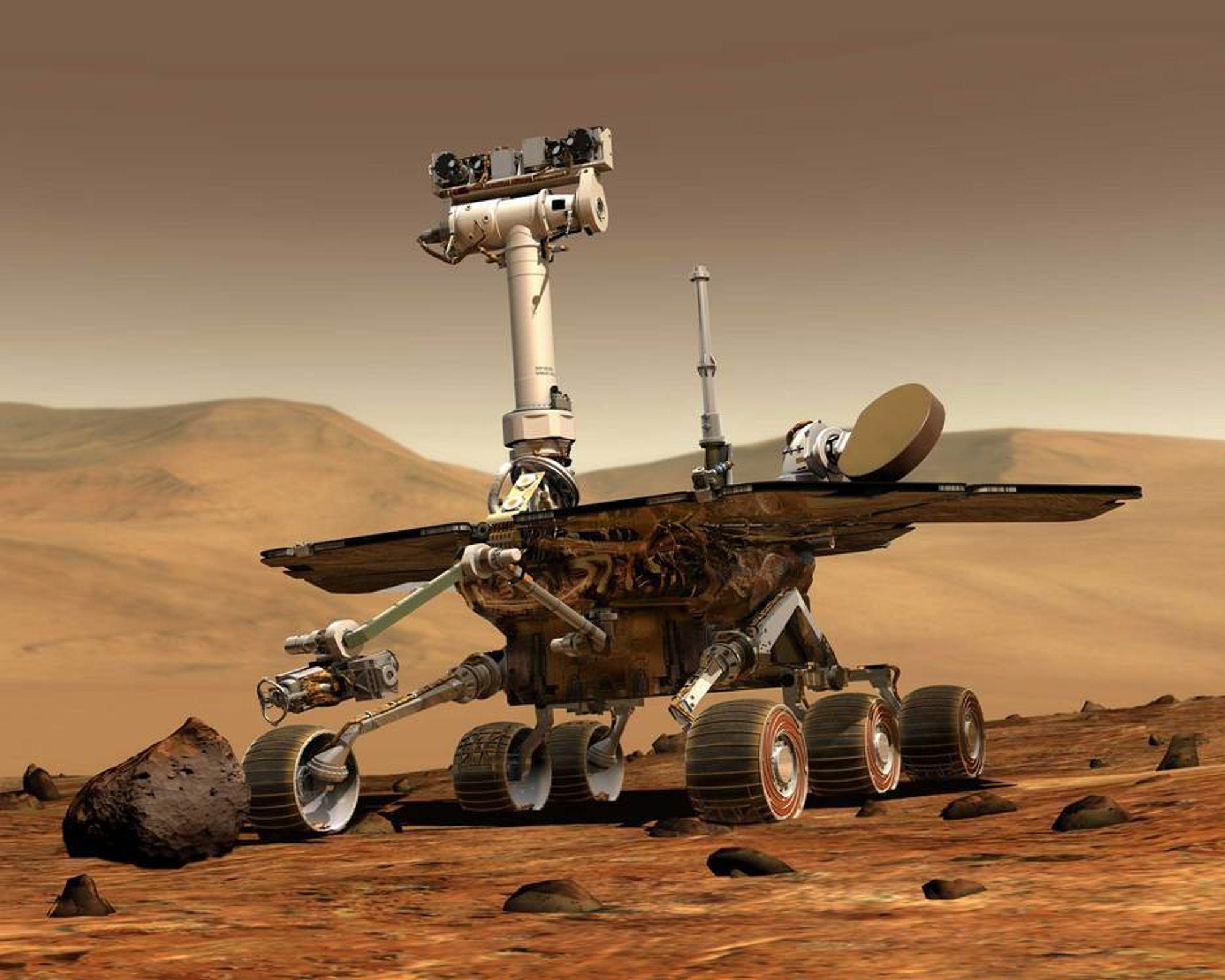 MESTERVERK: Opportunity er omtalt som et ingeniørmessig mesterverk. Ingen hadde turt å drømme om at den skulle kunne samle data på Mars i flere år. Tre måneder var den antatte levetiden.