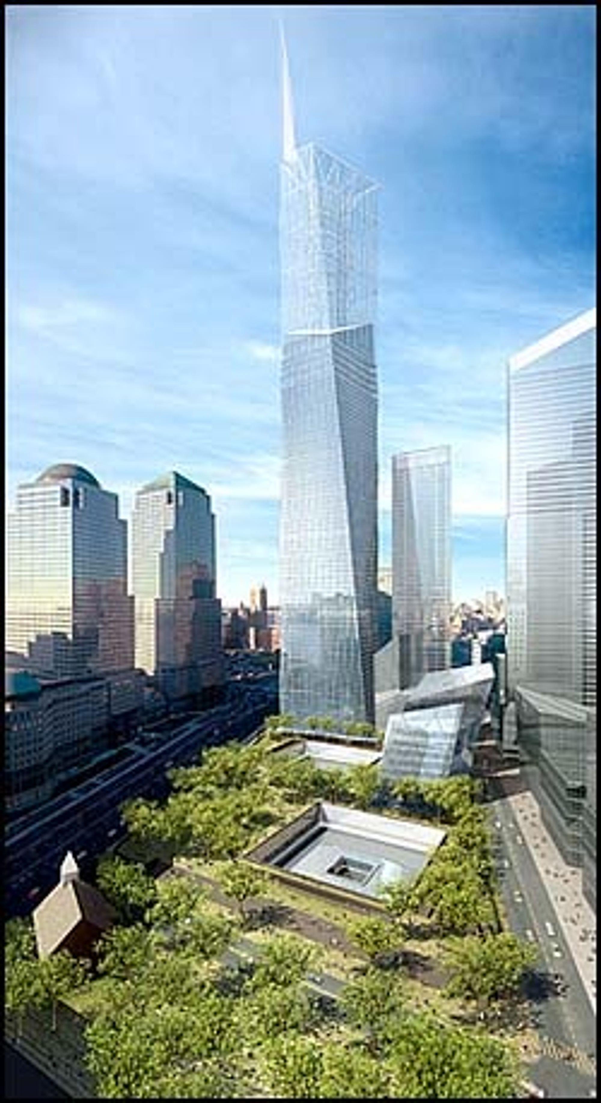 Freedom Tower og minneparken for World Trade Center vil bli seende ut. Foran til høyre for Freedom Tower har arkitektene plassert to moduler, som gir inntrykk av bygningene som norske Snøhetta skal utforme.