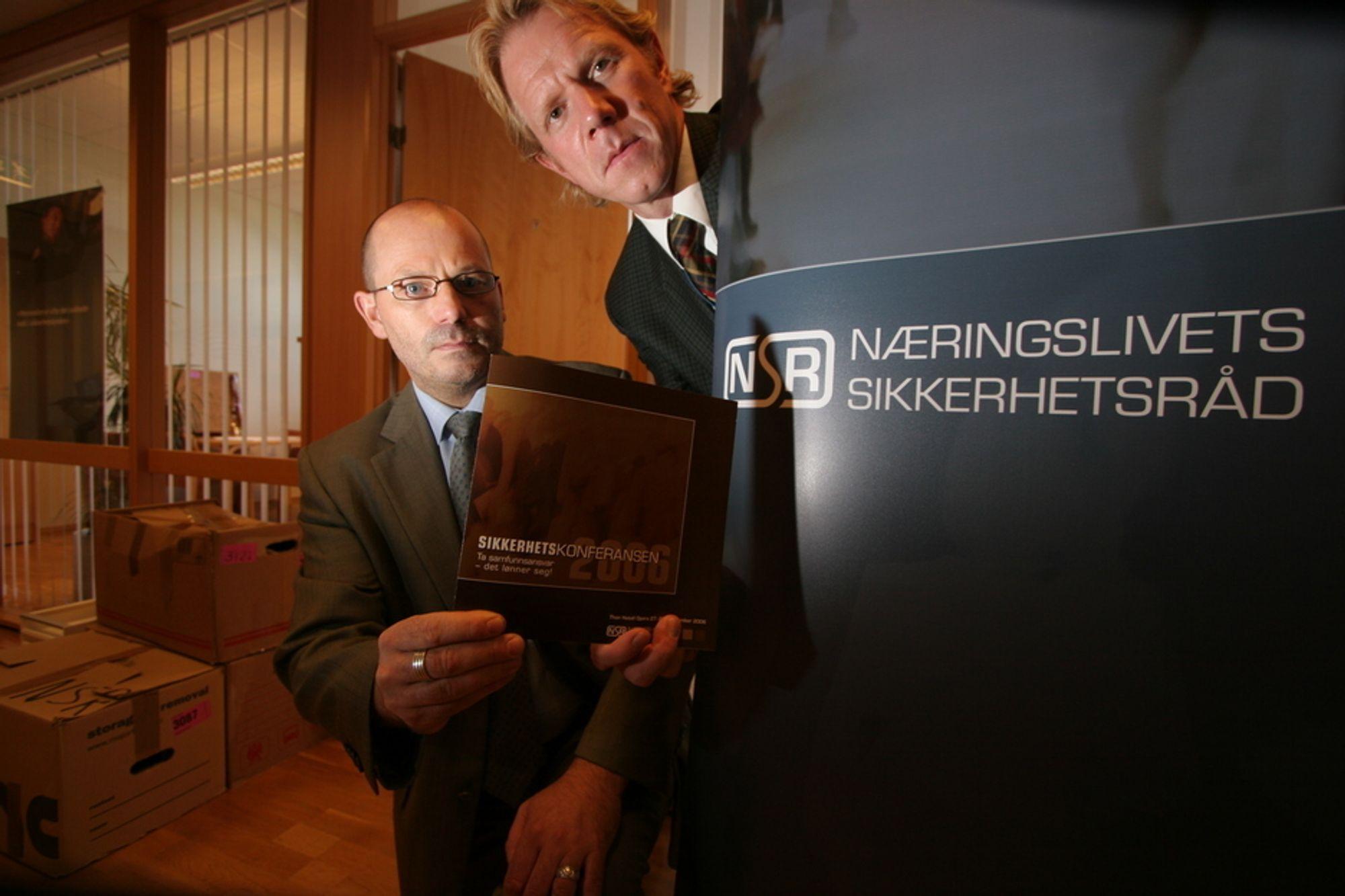 AVDEKKER UKJENT KRIMINALITET: Arne Rød Simonsen og Kim Ellertsen i Næringslivets Sikkerhetsråd vil på Sikkerhetskonferansen 28. september presentere Mørketalsundersøkelsen for datakriminalitet og IT-sikkerhet.
